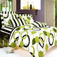 Artistic Green - 100% Cotton 3PC Duvet Cover set (Twin Size)